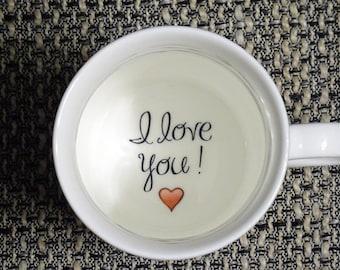I love you 2 Coffee Mug, Girlfriend mug, Boyfriend, Father, Grandmother, Bottom mug, hidden message, Funny, Cool, Coffe cup, porcelain