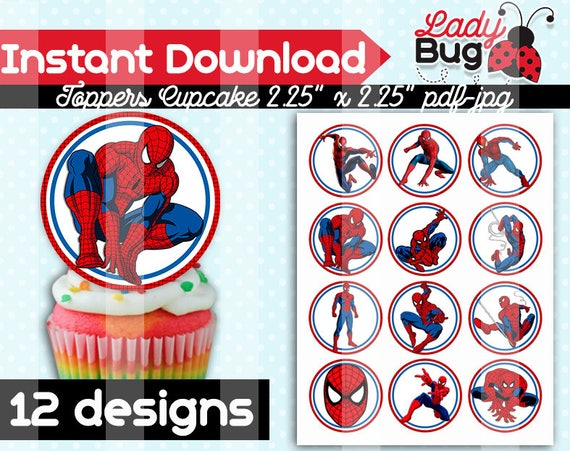 image about Free Printable Cupcake Wrappers and Toppers With Spiderman identified as 50%OFF SALE 12 desings Superheros Spiderman Social gathering Cupcakes Toppers Quick Obtain Printable Social gathering Cupcakes Topper, Wrappers Totally free Spiderman