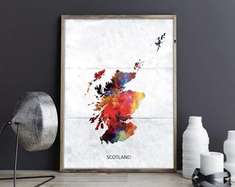 Scotland Art Scotland Wall Art Scotland Wall Decor Scotland Photo Scotland Print Scotland Poster Scotland Map Country Map Watercolor Map
