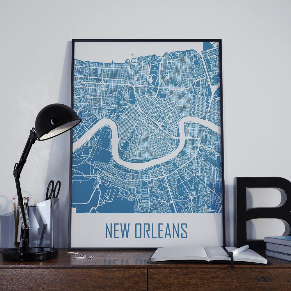 Home Decor New Orleans: New Orleans Map Travel Map Wall Decor Street Map Home