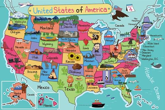 Map For Kids Nursery Map Kids Wall Art Kids Wall Decor Kids Etsy