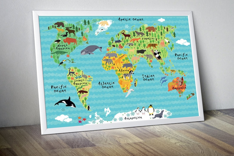 Kinderzimmer Weltkarte Kinderzimmer Karte für Kinder Weltkarte für Kinder  Kinder Wand Kunst Kinder Weltkarte Kinder Karte Karte Tierwelt Weltkarten  ...