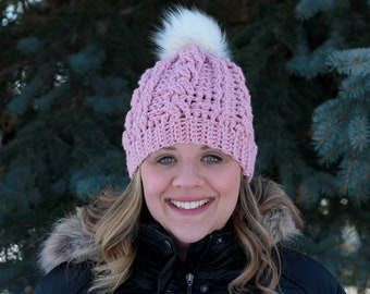 Women's Cable Beanie, Cable Crochet Hat, Faux Fur Pom Pom Hat, Pink Winter Hat, Cable Knit Beanie, Cable Hat, Women's Toque