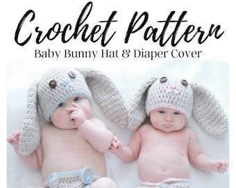 CROCHET PATTERN Bunny Hat & Diaper Cover / Crochet Bunny Hat Pattern / Crochet Pattern / Newborn Hat Crochet Pattern / Baby Crochet Pattern