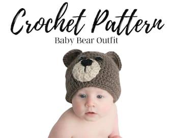 Bear Hat Crochet Pattern, Bear Outfit Crochet Pattern, Woodland Animals Crochet Pattern, Baby Hat Crochet Pattern, Baby Diaper Cover Crochet