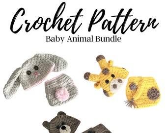Crochet Pattern Bundle, Baby Hat Crochet Pattern, Baby Bear Hat Crochet Pattern, Baby Bunny Hat Crochet Pattern, Baby Giraffe Hat