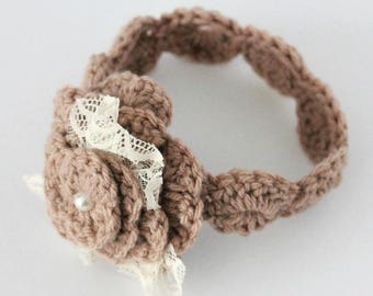 Crochet Baby Headband,  Crochet Flower Headband, Baby Flower Headband, Flower Girl Hair Accessories, Wedding Accesories