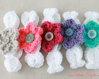 Baby Headbands / Crochet Flower Headband / Flower Headbands / Newborn Headband / Easter Gift / Baby Shower Gift / Newborn Photo prop