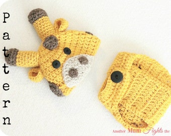 Crochet Pattern Baby Giraffe Hat & Diaper Cover / Crochet Giraffe Hat Pattern / Animal Hat Crochet Pattern / Newborn Crochet Pattern