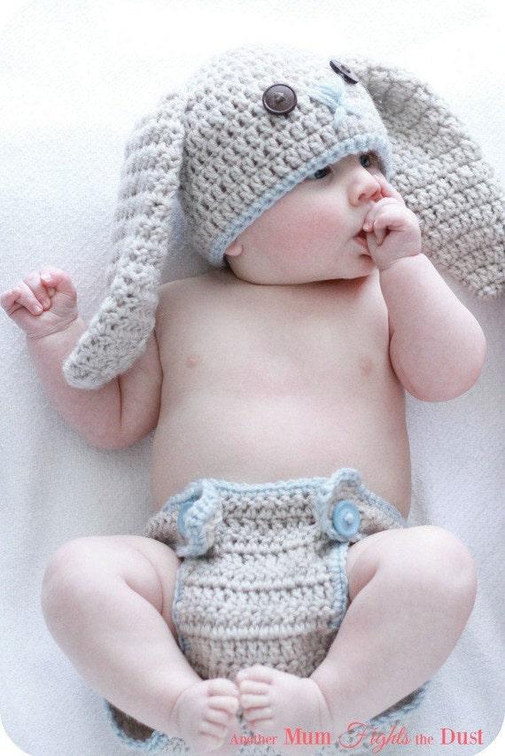 CROCHET PATTERN Bunny Hat & Diaper Cover / Crochet Bunny Hat   Etsy