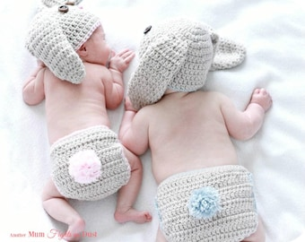 Crochet Bunny Outfit / Crochet Bunny Hat / Newborn Bunny Outfit / Baby Shower Gift / Christmas Gift for Baby / Newborn Photo Prop