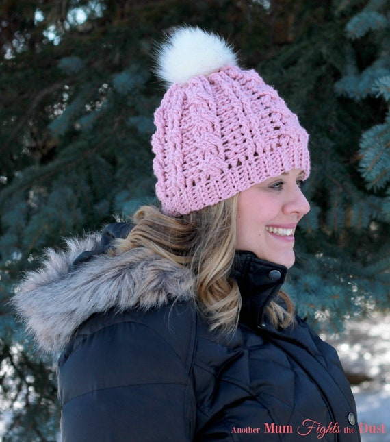 49198619f Women's Hat, Cable knit hat, Faux Fur Pom Pom Hat, Pink Winter Hat, Cable  knit Hat, Women's Toque, Christmas gift for her