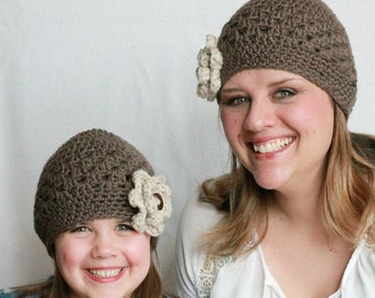 Crochet Hat Pattern, Mommy and Me Crochet Hat Pattern, Women's Crochet Hat Pattern, Child's Crochet Hat Pattern, Mothers Day gift