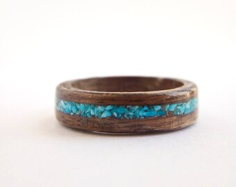 Walnut Ring with Turquoise Inlay-Wooden Ring-Wood Ring for Men-Wood Ring for Women-Wooden Engagement Ring-Wooden Wedding Ring-Wood Ring