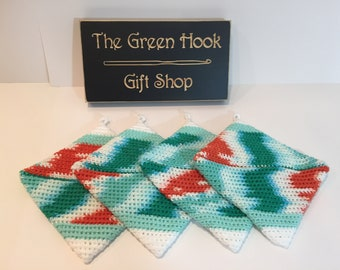 Crochet Cotton Potholders, teal orange emerald and white