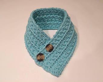 Crochet Dog Cowl Scarf for small dog, Robins Egg Blue