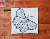 Vintage Feedsack Quilt Butterfly Pot Holder - Hot Pad - Coaster - Candlemat