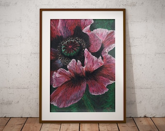 Pink Poppy Digital Download Art Print for Home Instant Download Home Decor Wall Art Print Flower Poppy Botanical Pastel Contemporary Modern
