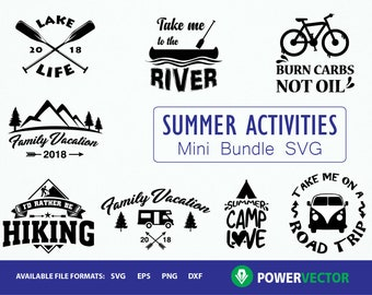 Summer Activities Svg, Dxf, Eps, Png Files Bundle for silhouette cameo, cricut and other cutting machines. Camping Svg, Summer Svg Cilp art