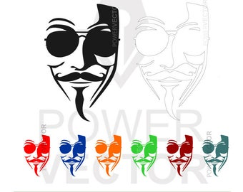 Mask Svg. Anonymous distinctive signature mask Svg, Eps, Dxf, Png. Vector Download Print and Cut Files. Masks Clip art