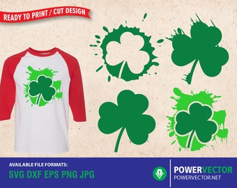 Saint Patricks Day | Clover Leaf SVG | Clover Leaves with splatters Clipart - Svg, Dxf, Eps, Png Cricut, Silhouette Cut Files