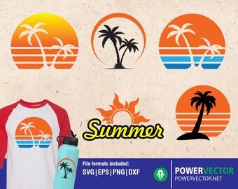 Sunset Bundle SVG, Summer Sun, Palm Tree, Cut File, Sunshine, Waves, Vacation Shirt Design, Beach Life, Silhouette, Cricut, PNG Sublimation