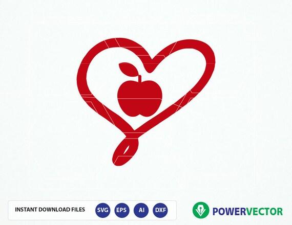 Apple Heart Clip Art Svg Dxf Png Eps Heart Apple Vector Etsy
