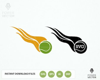 Tennis Flaming Ball Svg Cut Files. Tennis Ball Dxf, Png, Svg Print and Cut Files Download for Decals, Iron on and Heat Press Vinyl