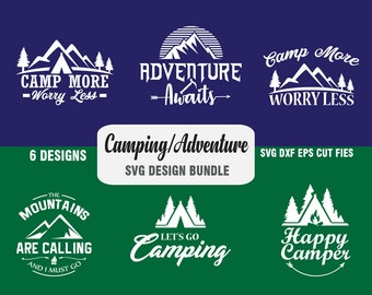 Camping, Adventure Vector SVG Dxf Png Eps Print/Cut Files for Silhouette, Cricut and other Cutting Machines, Digital Download