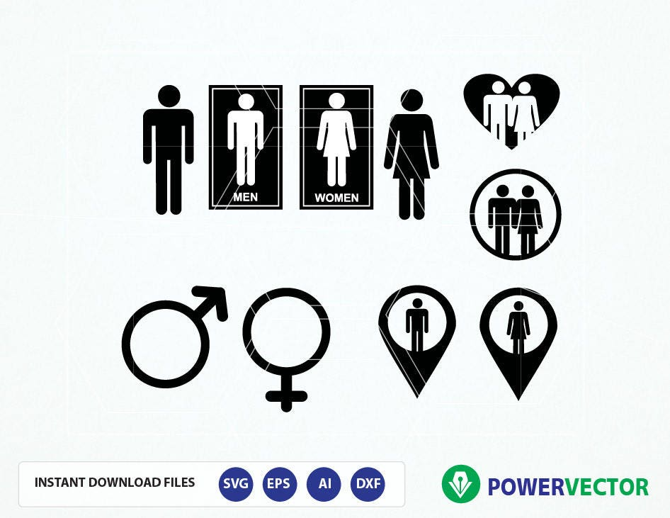 Male Female Symbol Svg Gender Symbols Dvg Dxf Png Eps Etsy