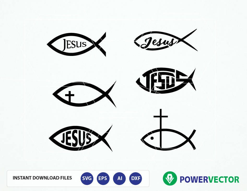 Fish Jesus Svg Jesus Christ Digital Clipart Fish Sign God Etsy