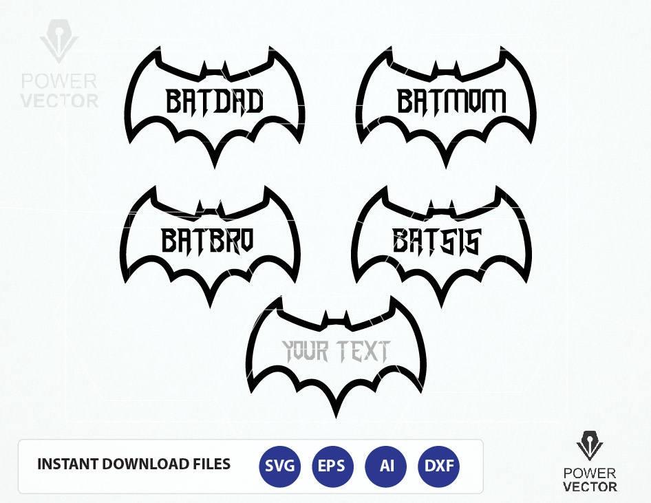 Super Hero Family Bat Dad Bat Mom Bat Bro Bat Sis Bat Etsy