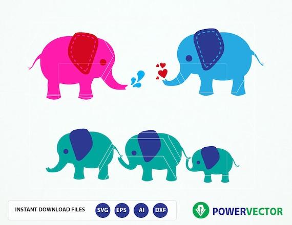 Elephant Svg Files Elephant Family Vector Clipart Cute Etsy
