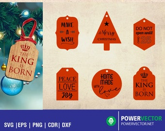 Christmas Gift Tag Template, Christmas Laser Svg, Laser cut file, gift tag laser cutting patterns, Cnc file, glowforge svg