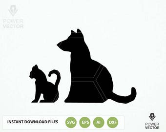 Dog Svg. Cat SVG file. Pet Dxf Cut Files . Dog Png. Cat, Dog Vector Clip art. Animals Silhouette Vinyl Cutting Files download