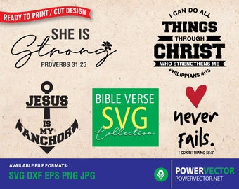 Bible Verse Svg Design -  Christian Svg  Bundle, Scripture Svg, Dxf, Png Files  for  Cricut, Silhouette   Iron on, Vector Download