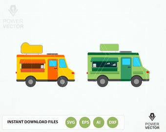 Food Truck Clip art Svg, Eps, Png Instant Download Vector Files for Commercial Use