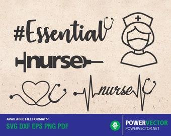 Nurse Clipart, Health care Svg, Stethoscope SVG, Nurse Heart, heart stethoscope svg, svg files for cricut svg dxf png cut files