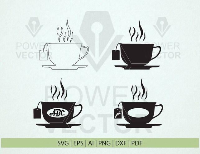 tea cup svg tea cup monogram png dfx eps tea cup etsy