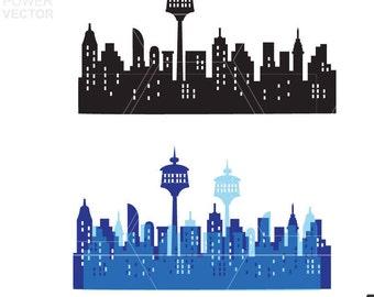 Calgary Downtown SVG, Calgary Vector Skyline, Calgary Downtown silhouette, Svg, Dxf, Eps, Ai, Skyline Clipart, Svg Cut File