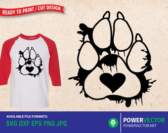 Paw Heart Svg  - Pawprint -  Dog Paw  Cat Paw Paw Print Pets  Dog Mom Cat Mom - Cut Files for Cricut, Silhouette