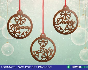 Christmas Baubles Svg, Family Christmas Ornaments Laser Cut Files, Christmas Tree Decorations svg dxf eps files for cutting