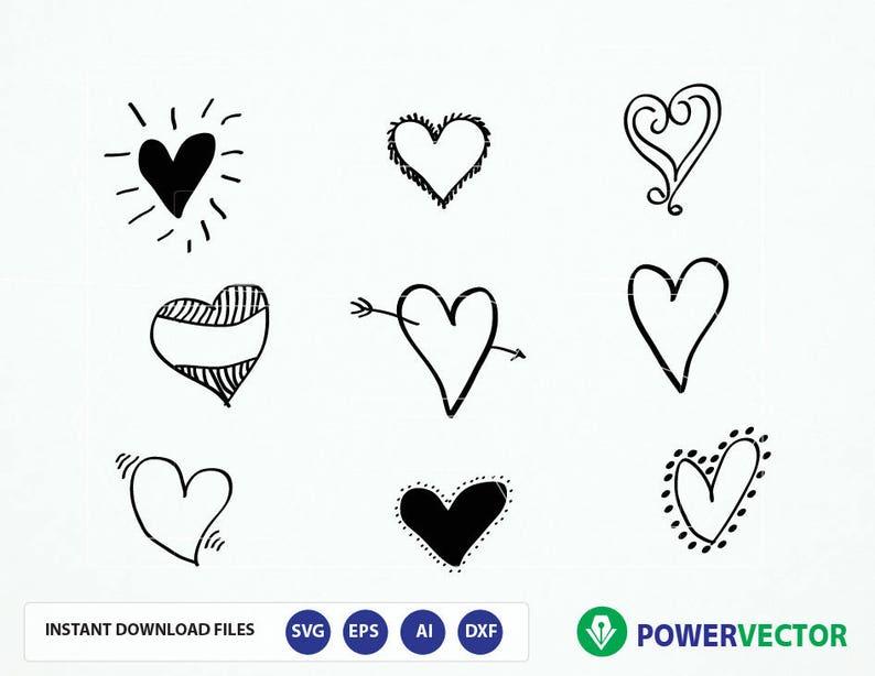 Svg Hand Drawn Hearts Hearts Cut Files Heart Png File Love Etsy