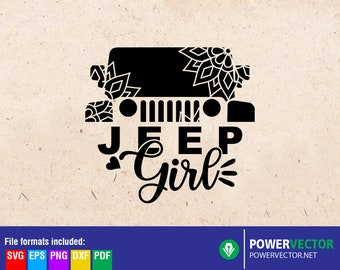 Jeep Girl Svg, Jeep Girl Shirt, Jeep floral mandala - Dxf Eps Png Pdf Svg Print Cutting files for Cricut, Silhouette, Iron on download