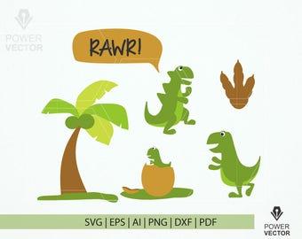 Svg File Funny Dinosaur. Dinosaur Family Clipart. Dinosaur, palm tree, baby dinosaur svg, dxf, png, eps vector illustration