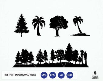 Forest SVG File. Trees Svg. Trees Silhouette - Fine Tree, Palm Tree Svg. Forest Silhouette Svg. Forest Cut File. Tree Cricut. Tree Cameo Svg