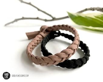 Braided WIDE Essential Oil Diffuser Bracelet – TASSEL Closure – Vegan Faux Suede – Adult Sizes