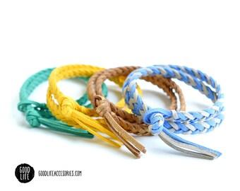 Braided DOUBLE-WRAP Essential Oil Diffuser Bracelet –TASSEL Closure – Vegan Faux Suede –Adult Sizes