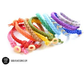 Braided Essential Oil Diffuser Bracelet – BUTTON Closure –Vegan Faux Suede – Adult Sizes