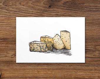 "Standard 4"" x 6"" Postcard   Original Digital Sketch Art Print   Assorted Cheese Wedges   Illustration"